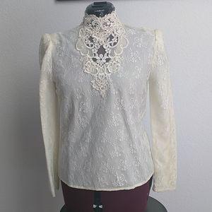 Vintage high neck lace Victorian top